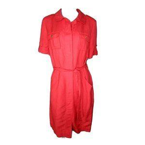 Calvin Klein Red Linen Blend Shirt Dress 12